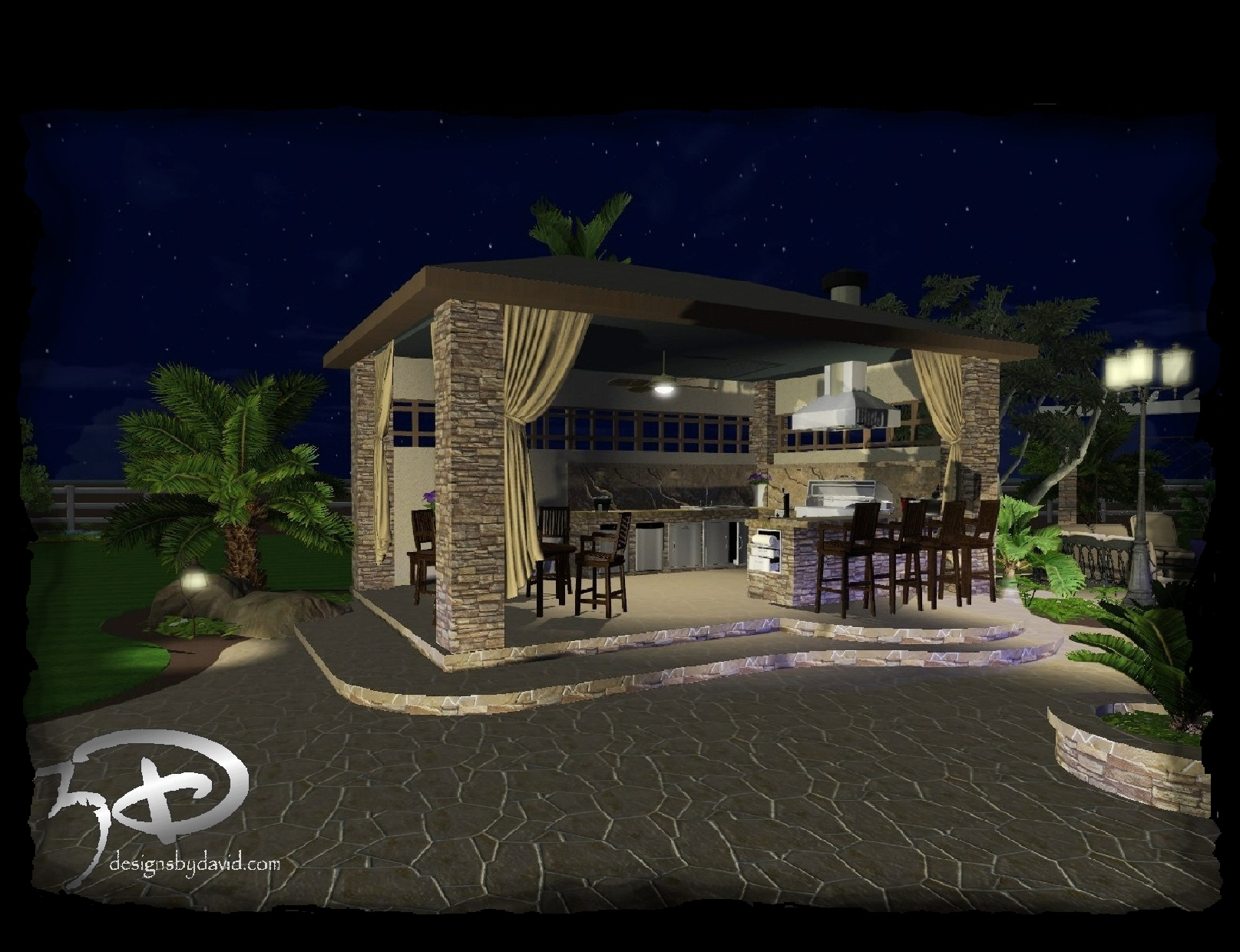 Cabanas outdoor kitchens 3d designs by david for Outdoor cabana designs